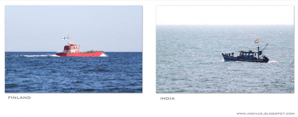 Suomalainen ja intialainen vene