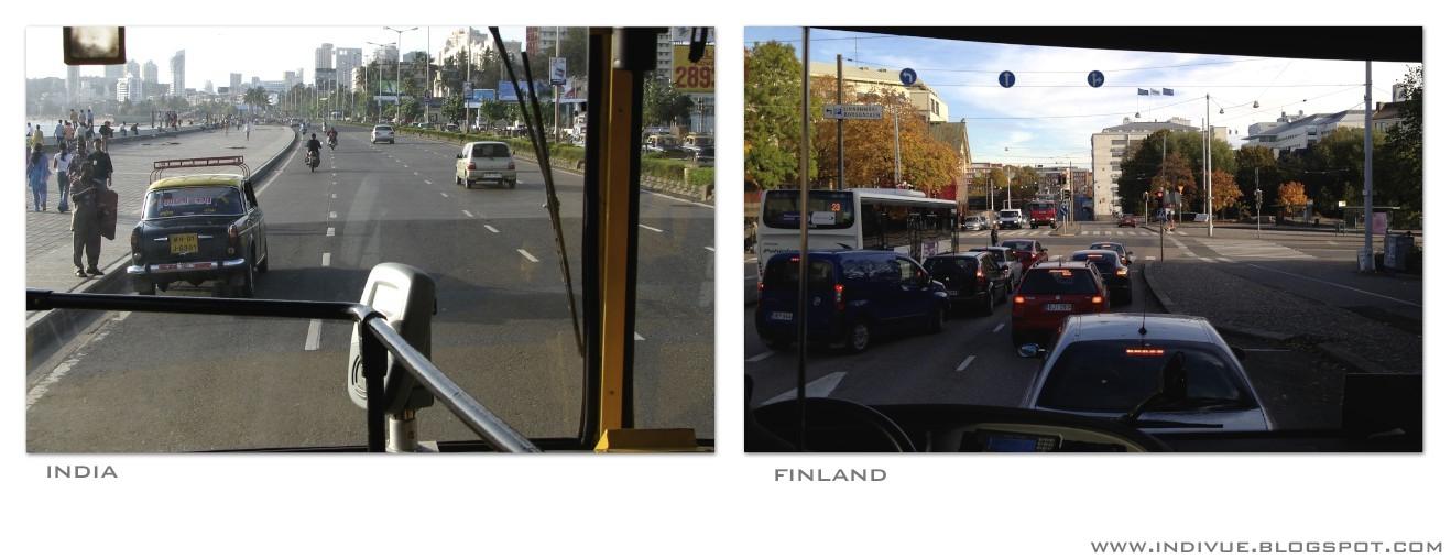 Intialaisessa linja-autossa ja suomalaisessa linja-autossa