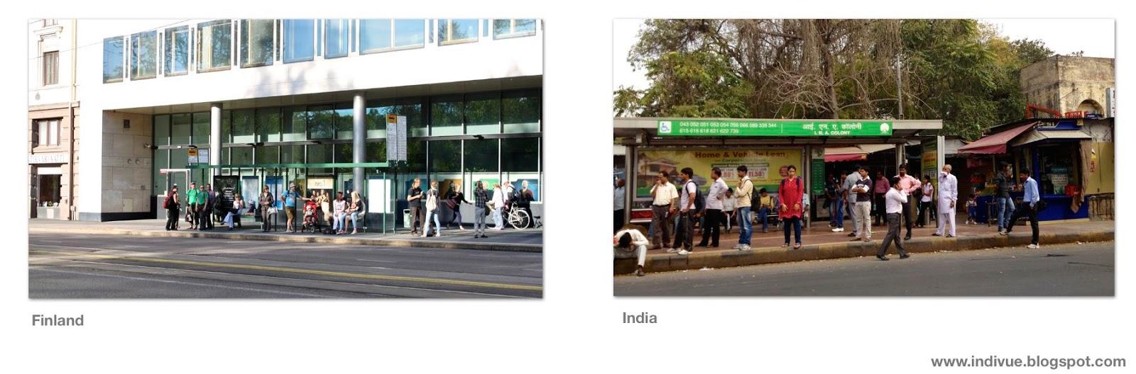 Suomalainen ja intialainen bussipysäkki