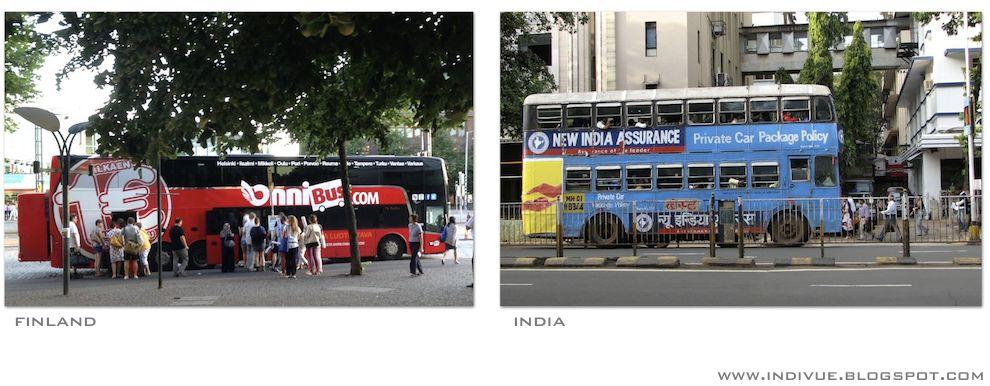 Kaksikerroksinen linja-auto Intiassa ja Suomessa