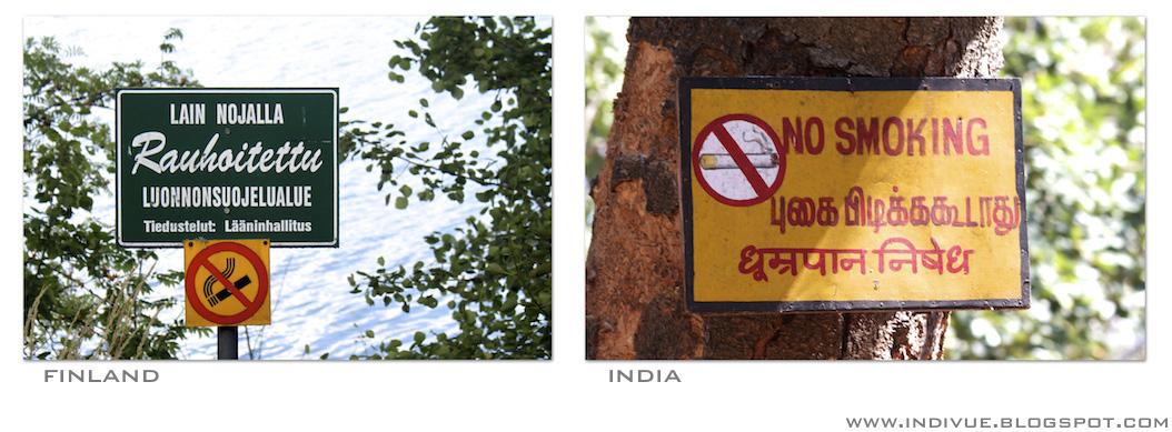 Tupakointi kielletty – kyltti Suomessa ja Intiassa