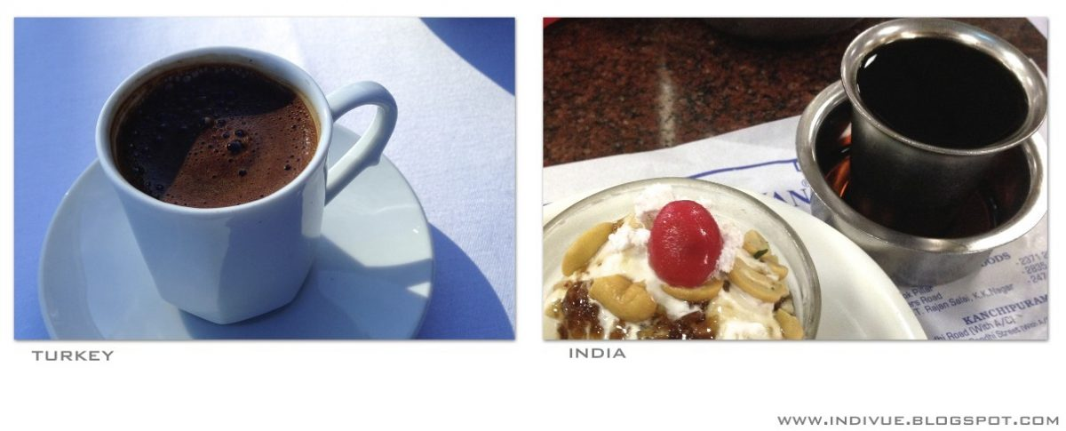 Turkkilainen ja intialainen kahvi