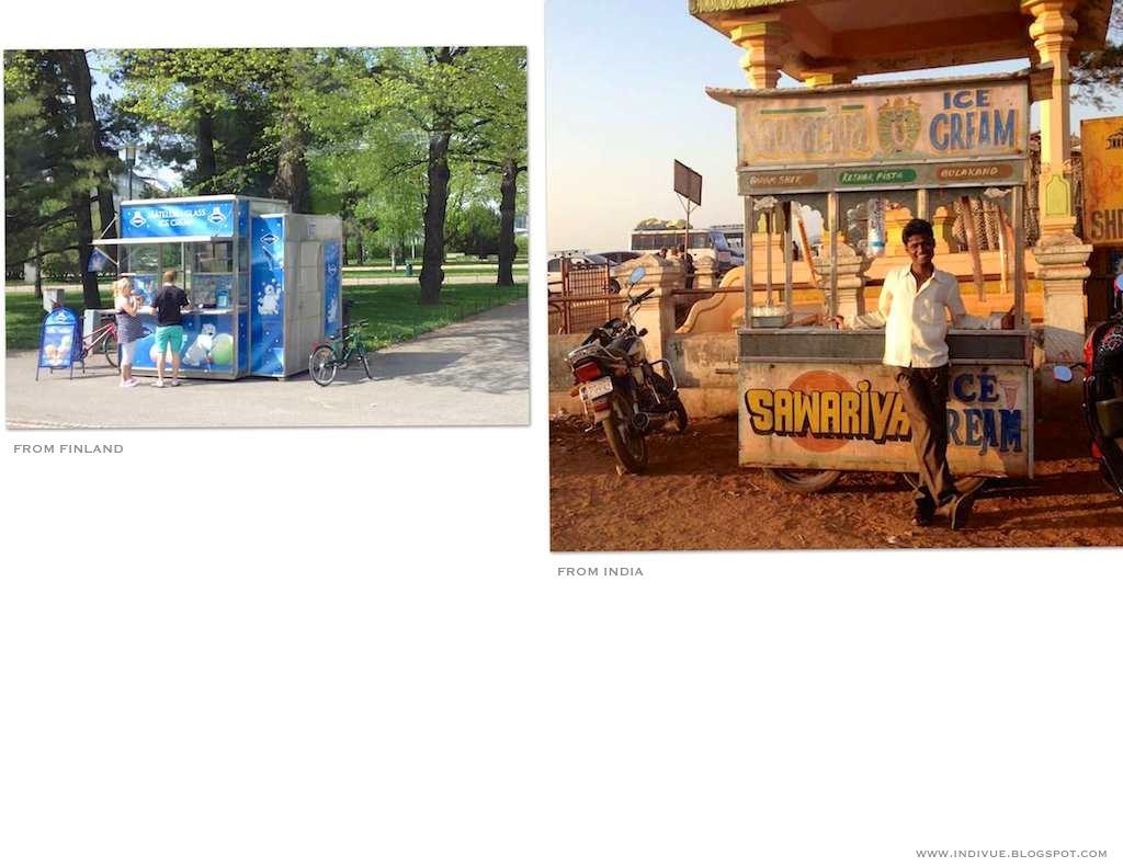 Suomalainen ja intialainen jäätelökioski