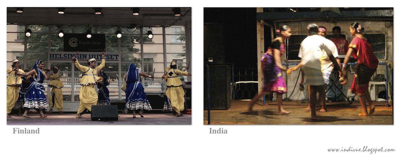 Suomalaista ja intialaista kansantanssia