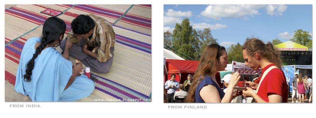 Aterian jakamista Suomessa ja Intiassa