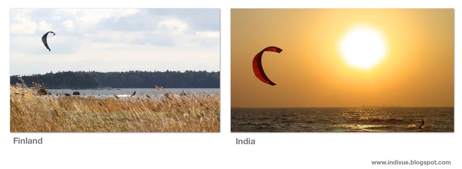 Suomalainen ja intialainen purjelautailu