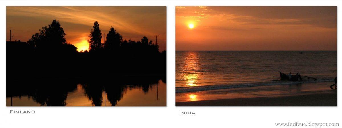 Auringonlasku Intiassa ja Suomessa