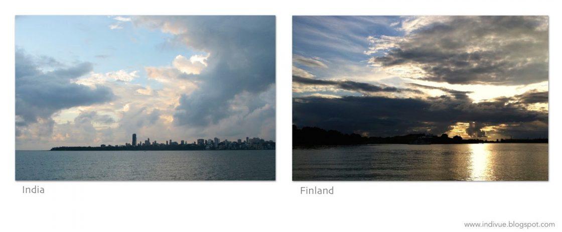 Suomalainen ja intialainen auringonlasku