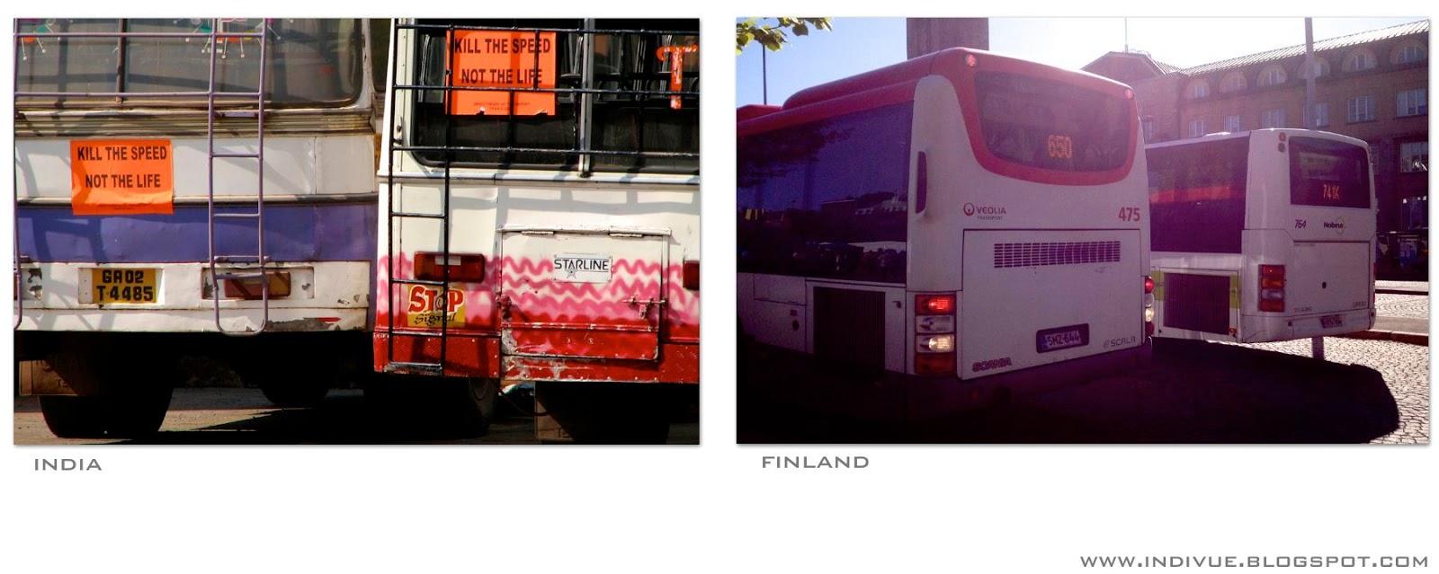 Suomalainen bussi ja intialainen bussi