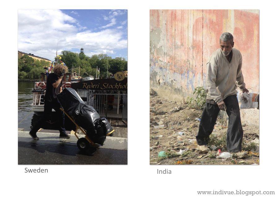 Raaka-aineiden keräilijä Ruotsissa ja Intiassa