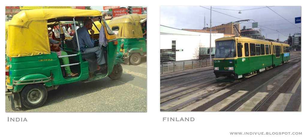 Suomalainen raitiovaunu ja intialainen riksa