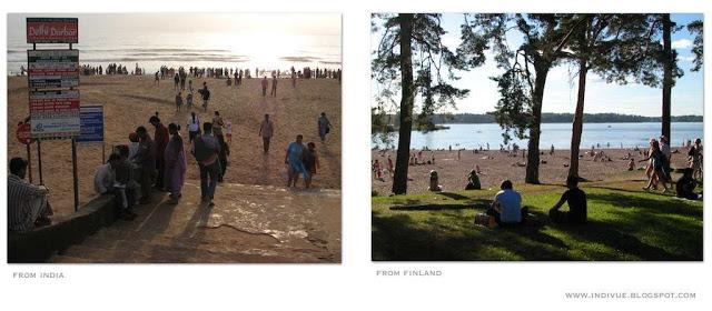 Suomalainen ja intialainen uimaranta