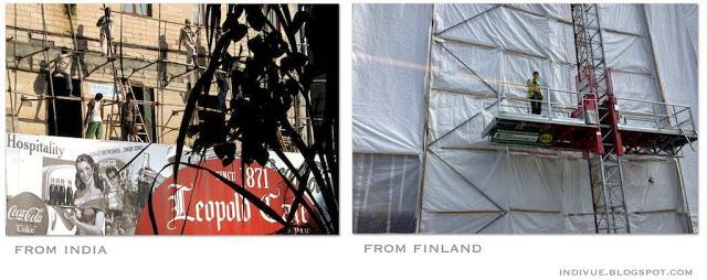 Suomalaista ja intialaista julkisivukorjausta