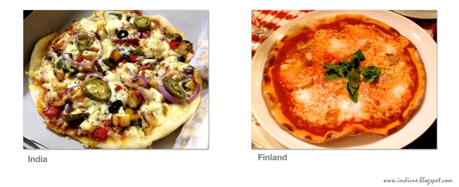 Intialainen pizza ja suomalainen pizza
