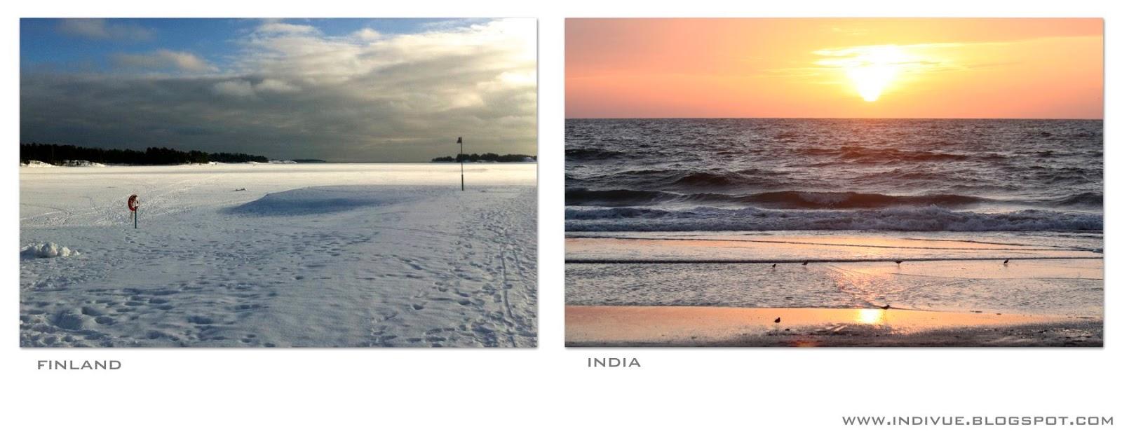 Helmikuinen meri Suomessa ja Intiassa