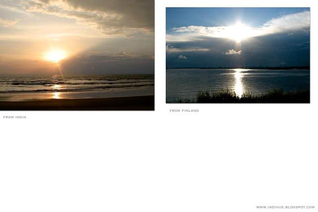 Intialainen auringonlasku ja suomalainen auringonlasku