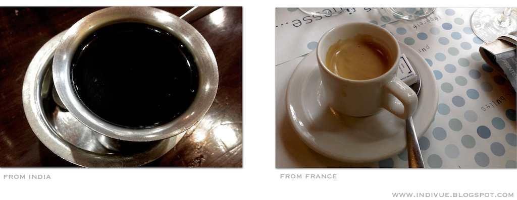 Intialainen ja ranskalainen kahvi