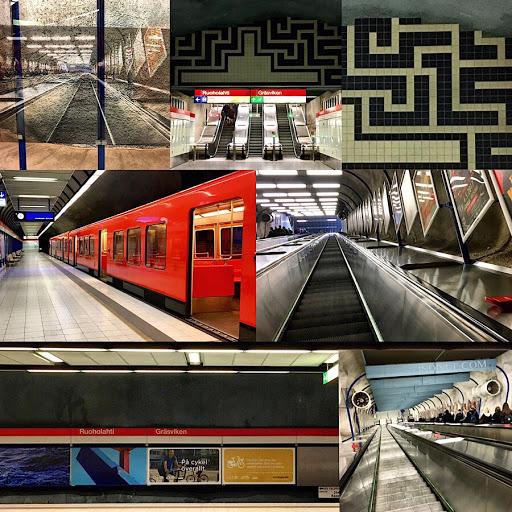 Ruoholahden metroasema -kollaasi