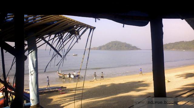 Näkymä Beach hutista Palolemin rannalla Intian Goassa