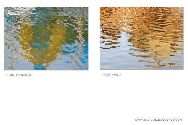 Suomalainen ja intialainen heijastus vedessa