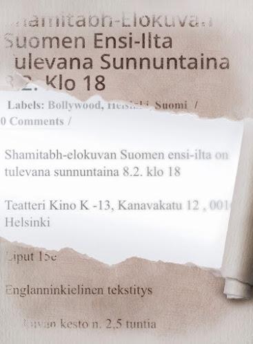 Shamitabh-elokuvan Suomen ensi-ilta