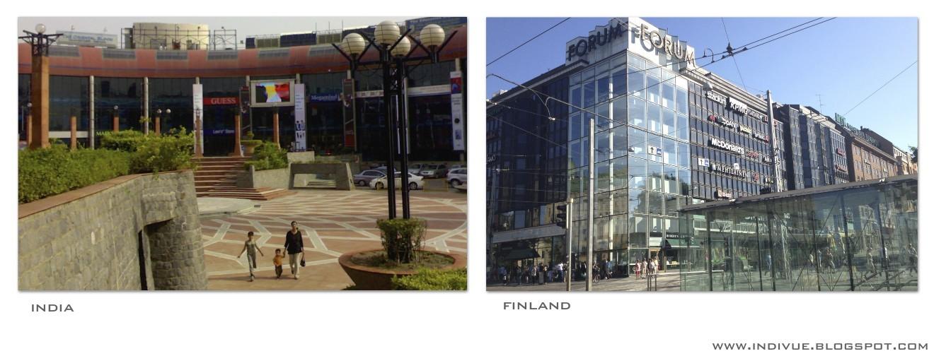 Kauppakeskuksia Suomessa ja Intiassa