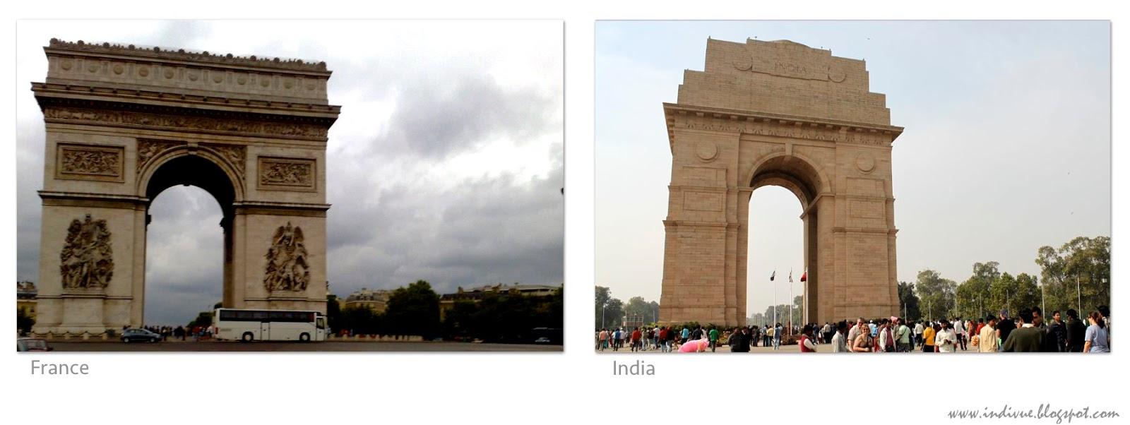 Monumentit Ranskassa ja Intiassa: Riemukaari ja Indiagate