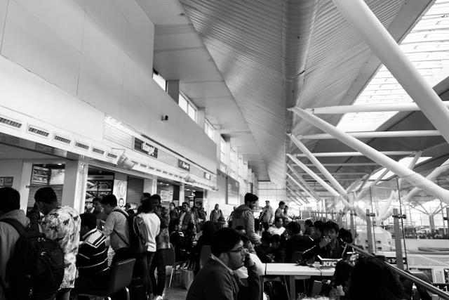 Delhin kotimaan lentokenttä ja ravintolaterassi